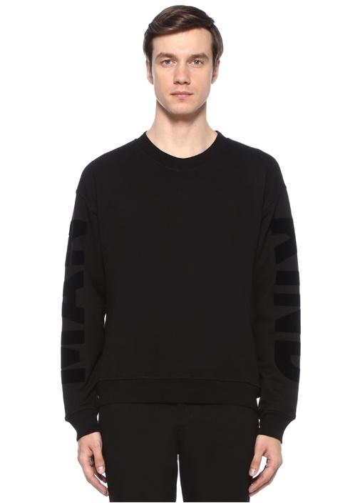 Siyah Bisiklet Yaka Baskı Detaylı Sweatshirt