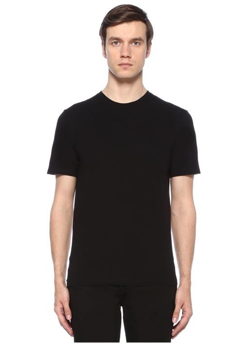 Siyah Bisiklet Yaka Dikiş Detaylı T-shirt