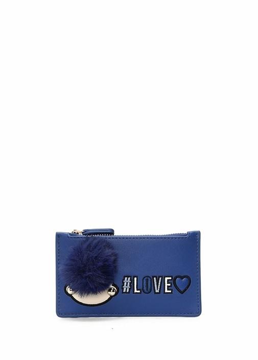 Mavi Nakışlı Ponponlu Kadın Cüzdan