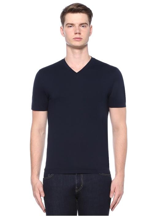 Lacivert V Yaka Basic T-shirt