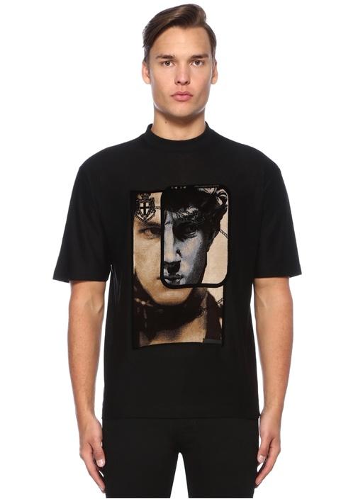 Siyah Bisiklet Yaka Yüz Baskılı Basic T-shirt