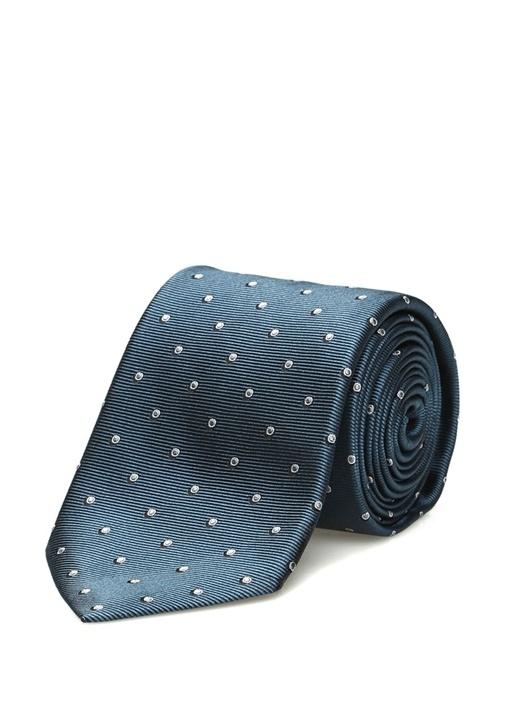 Mavi Puantiye Desenli Erkek İpek Kravat