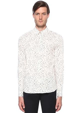 Slim Fit Beyaz Mikro Desenli İngiliz Yaka Gömlek