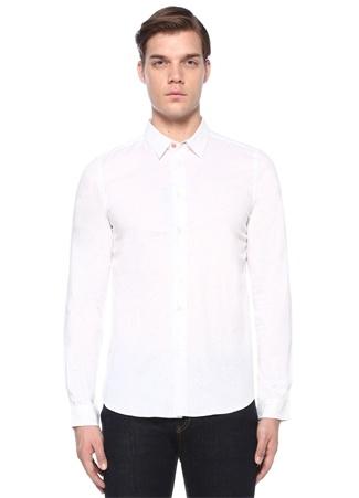 Slim Fit Beyaz İngiliz Yaka Mikro Desenli Gömlek