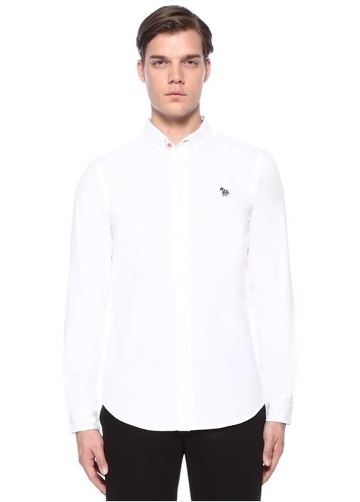 Tailored Fit Beyaz Yakası Düğmeli Gömlek