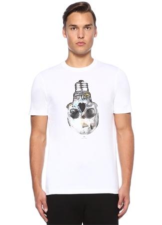 Beyaz Slim Fit Kuru Kafa Baskılı T-shirt