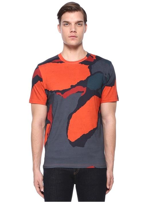 Kiremit Bisiklet Yaka Karışık Desenli T-shirt