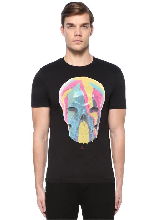 Slim Fit Siyah Kuru Kafa Baskılı Basic T-shirt