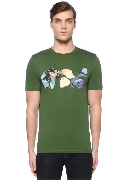 Slim Fit Yeşil Kelebek Baskılı Basic T-shirt