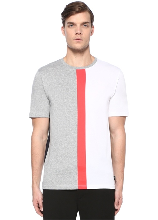 Gri Melanj Bisiklet Yaka Şeritli Basic T-shirt