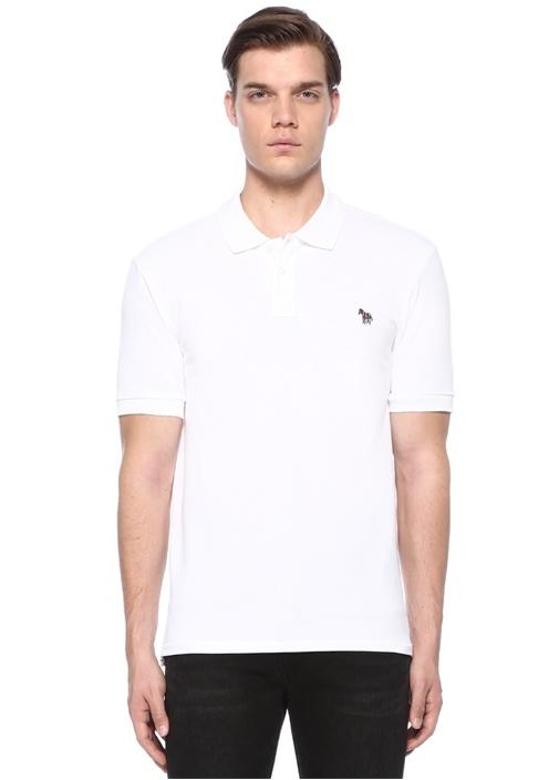 Beyaz Polo Yaka Logolu T-shirt