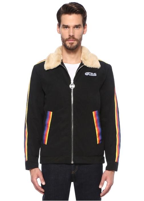 Rainbow Polo Yaka Kolları Şeritli Mont