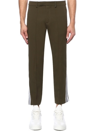 Haki Logo Şeritli Pantolon