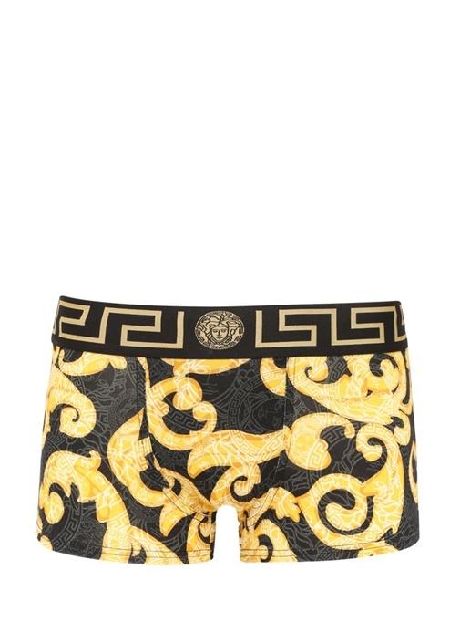 Siyah Gold Barok Baskılı Boxer