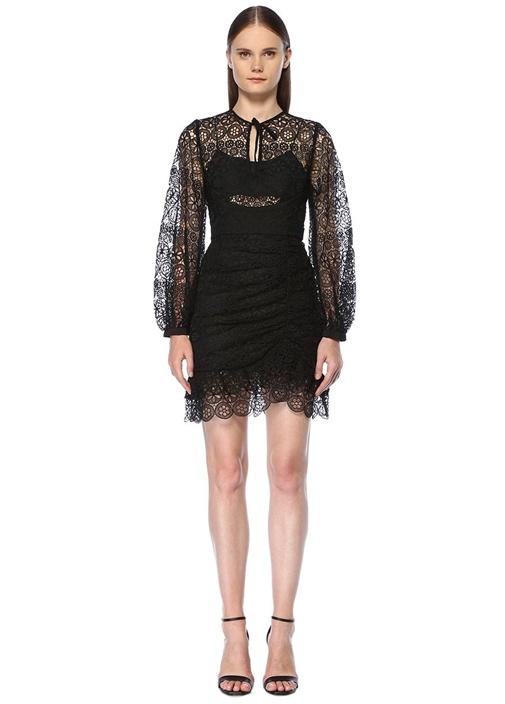 Siyah Dantelli Büzgü Detaylı Mini Elbise