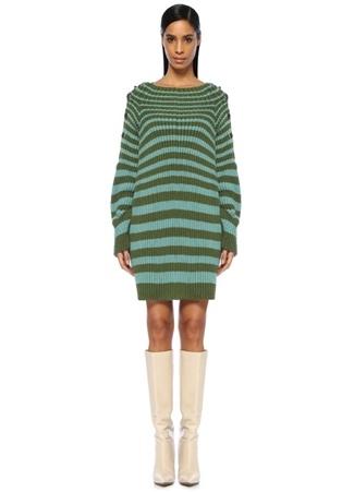 Alberta Ferretti Kadın Yeşil Çizgili Yanları Çıtçıtlı Mini riko Elbise 42 I (IALY)