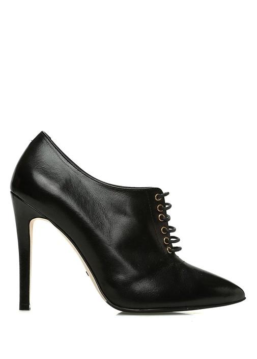 Siyah Sivri Burun Kadın Deri Topuklu Ayakkabı