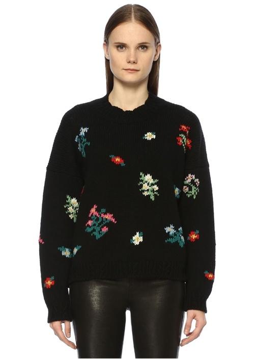 Siyah Dik Yaka Çiçek Nakışlı Düşük Kol Yün Kazak