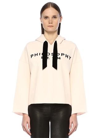 Philosophy di Lorenzo Serafini Kadın Altın Rengi Kapüşonlu Kadife Logolu Sweatshirt S