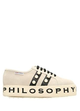 Superga x Philosophy Kadın Bej İnci Detaylı Deri Sneaker Gri 41 EU