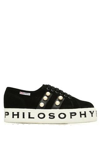 Superga x Philosophy Kadın Siyah İnci Detaylı Süet Sneaker 41 EU