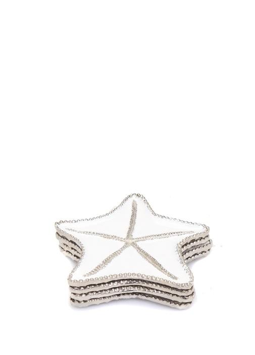 Beyaz Gri Deniz Yıldızı Formlu 4lü Bardak Altlığı