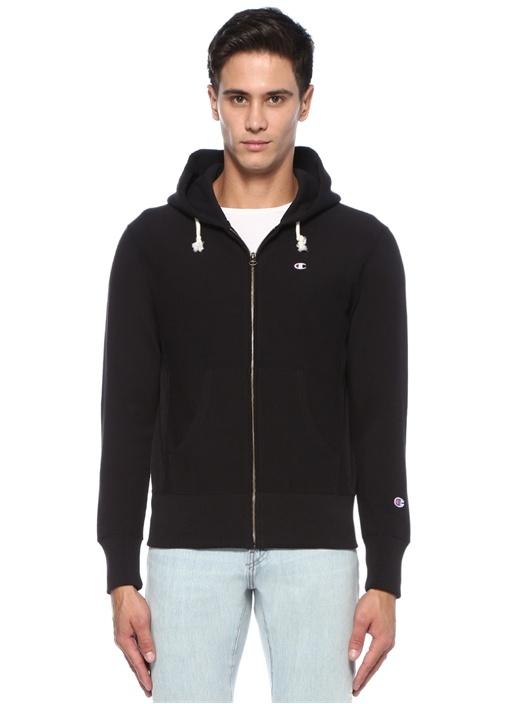 Siyah Kapüşonlu Ribana Detaylı Logolu Sweatshirt