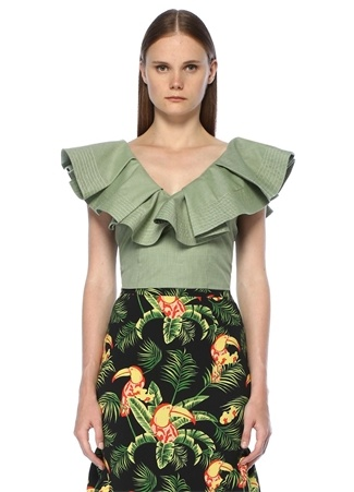 Leana Yeşil Omzu Açık Volanlı Crop Bluz