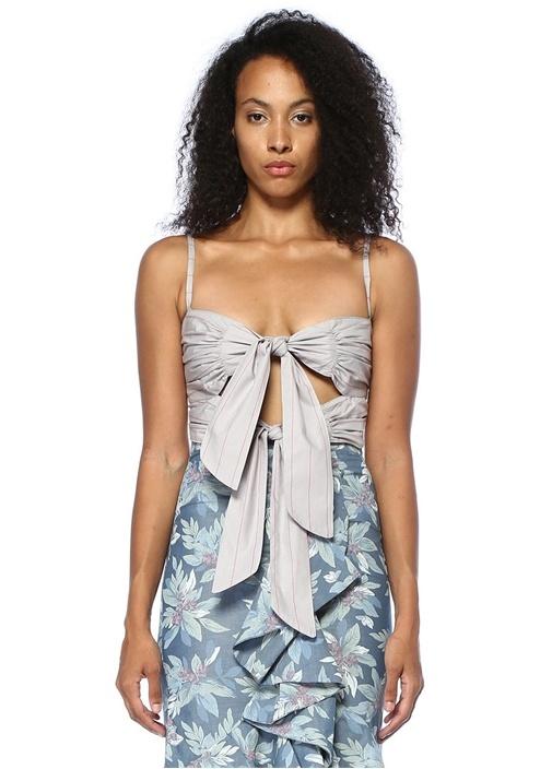 Paula Lila Çizgili Çift Bağcıklı Crop Bluz