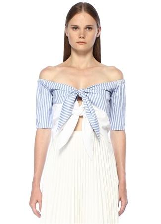 Stella&Amelia Kadın Rafaela Mavi Beyaz Çizgili Bağcıklı Crop Bluz L EU