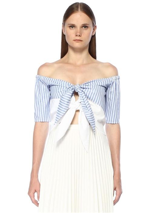 Rafaela Mavi Beyaz Çizgili Bağcıklı Crop Bluz