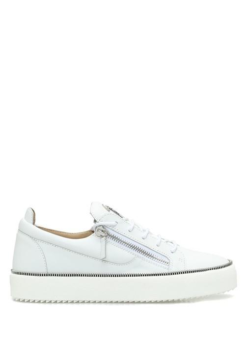 Giuseppe Zanotti Beyaz ERKEK  Beyaz Çift Fermuarlı Erkek Deri Sneaker 520412 Beymen