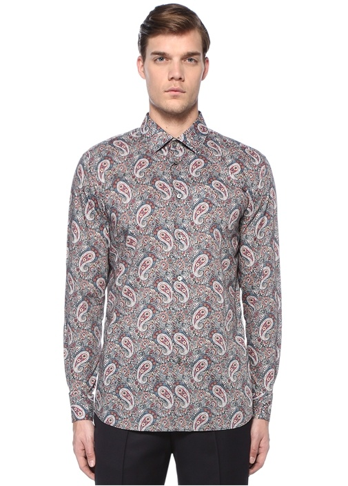 Tailored Fit Klasik Yaka Etnik Desenli Gömlek
