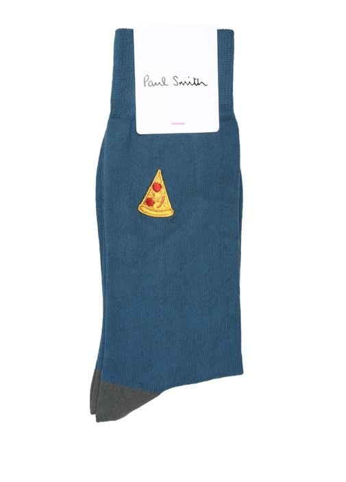 Mavi Pizza Dilim Nakışlı Erkek Çorap
