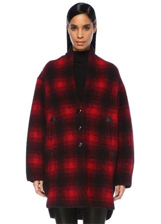 Etoile Isabel Marant Kadın Gabrie Kırmızı Ekoseli Oversize Yün Palto 40 FR