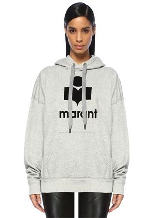 Etoile Isabel Marant Kadın Gri Kapüşonlu Logolu Oversize Sweatshirt 40 FR