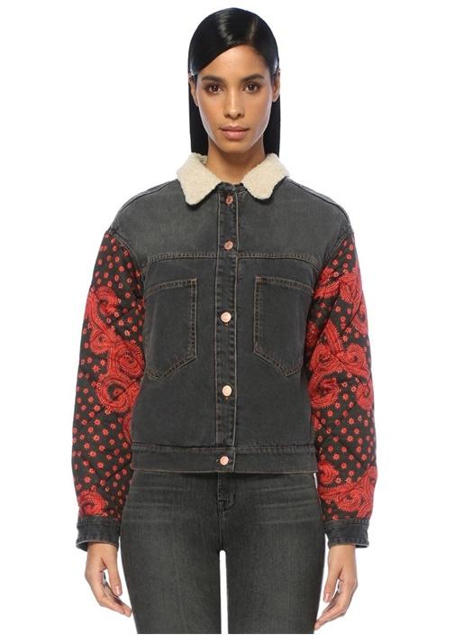 Chrissa Antrasit Shearling Kol Detaylı Jean Ceket