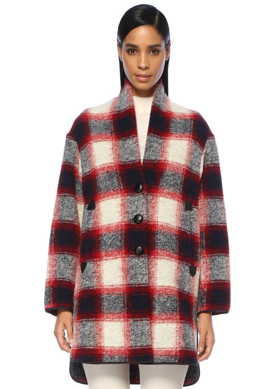 Etoile Isabel Marant Gabrie Kırmızı Ekoseli Oversize Yün Palto