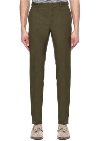 Erkek Slim Fit Yeşil Dar Paça Kanvas Pantolon 48 IT
