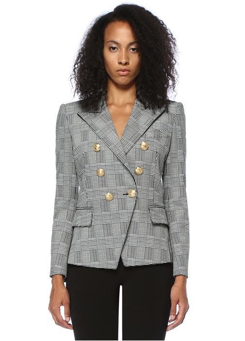 Siyah Beyaz Kırlangıç Yaka Ekose Desenli Ceket