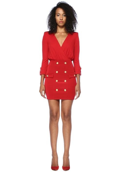 Kırmızı V Yaka Düğmeli Mini Anvelop Elbise