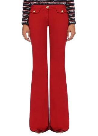 Kadın Kırmızı Normal Bel Bol Paça Jean Pantolon 38 FR