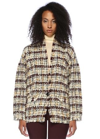 Isabel Marant Kadın Iliana Düşük Kollu Düğmeli Tweed Palto 40 FR