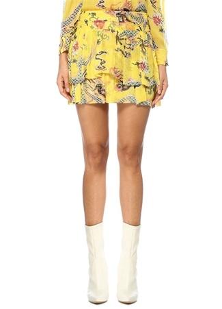 Isabel Marant Kadın Dahlia Sarı Çiçekli Katlı Pileli Mini İpek Etek 36 FR Ürün Resmi