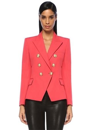 Balmain Kadın Şeftali Kırlangıç Yaka Kruvaze Yün Ceket Pembe 38 FR Ürün Resmi