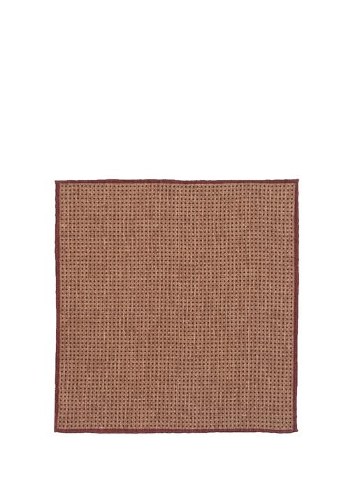Kahverengi Bordo Mikro Desenli Yün Poşet Mendil