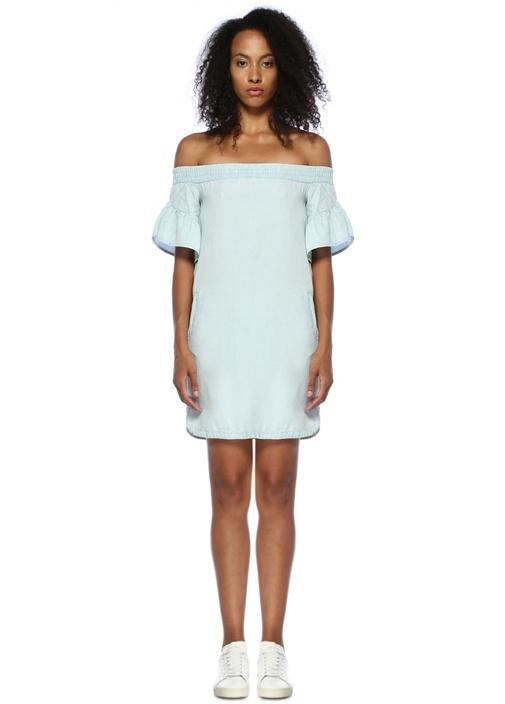Adela Chambray Omzu Açık Mini Denim Elbise