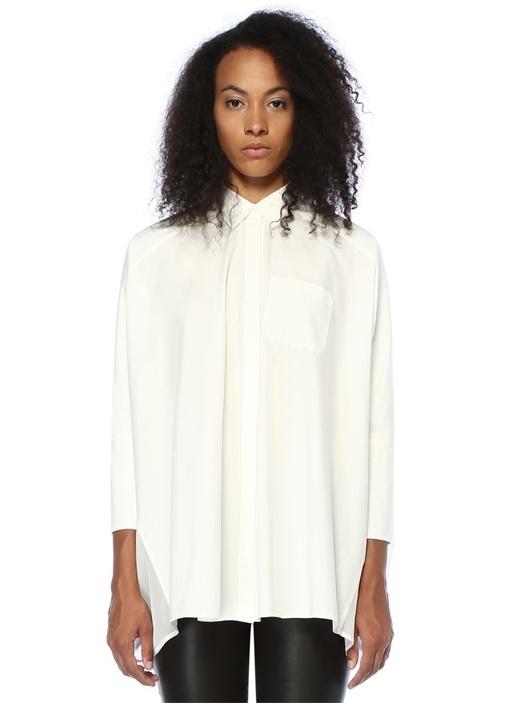 Savana Beyaz Şifon Detaylı Düşük Kollu Gömlek