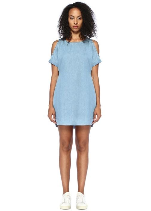 Remi Chambray Omzu Açık Mini Denim Elbise