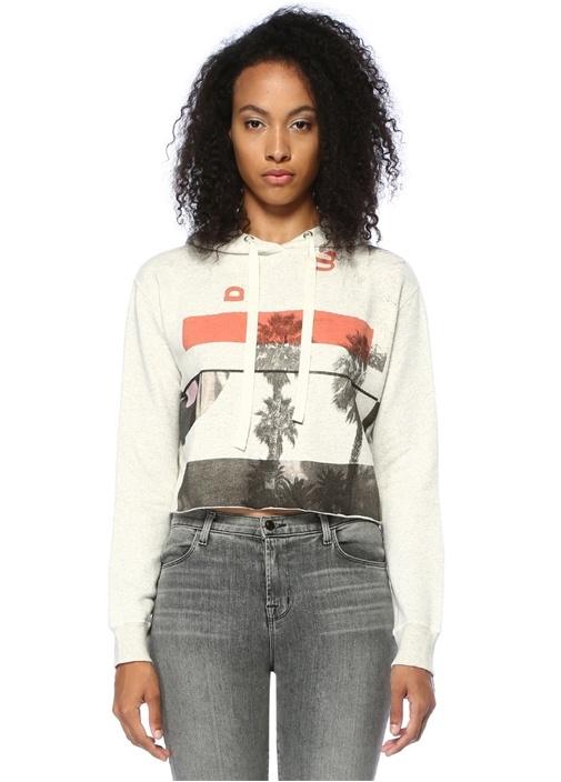 Bay Mila Gri Önü Baskılı Crop Sweatshirt